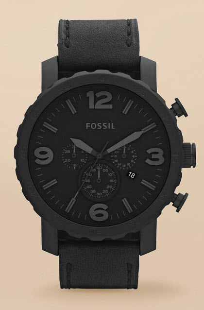 Fossil Nate Stainless Steel and Leather Watch